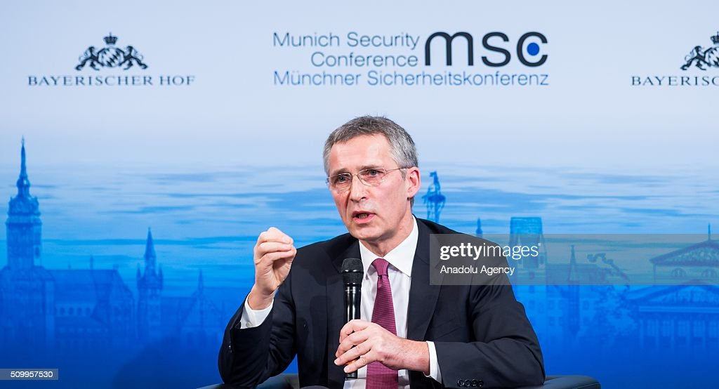 Secretary General of NATO, Jens Stoltenberg, speaks during the 2016 Munich Security Conference at the Bayerischer Hof hotel on February 13, 2016 in Munich, Germany. The annual event brings together government representatives and security experts from across the globe and this year the conflict in Syria will be the main issue under discussion.