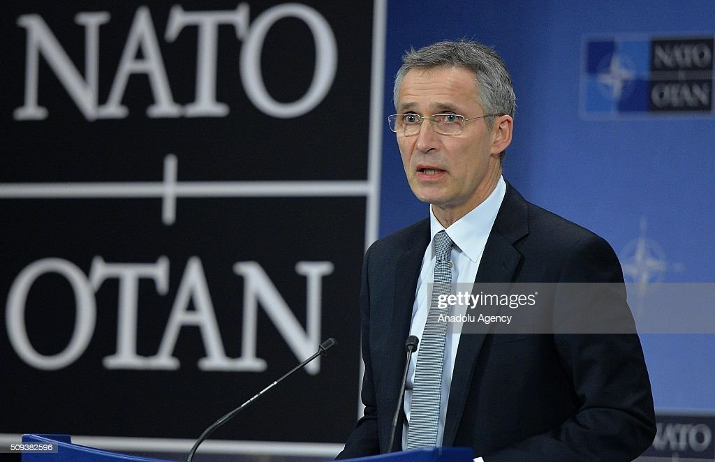 Secretary General of NATO, Jens Stoltenberg, who chaired the NATO Defense Ministers meeting, delivers a speech during a press conference at the NATO headquarters in Brussels, Belgium on February 10, 2016.