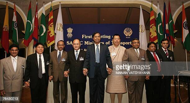 Secretary General of SAARC Chenkyab Dorji poses with Transport Ministers of the South Asian Association for Regional Cooperation countries Nepalese...