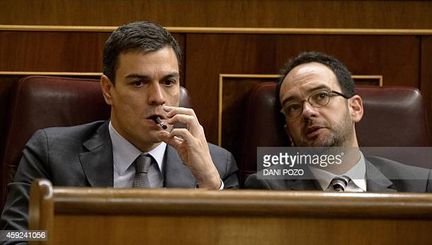 Secretary general of Spanish Socialist Party Pedro Sanchez and PSOE member Antonio Hernando attend a control session of the Spain's lower house of...