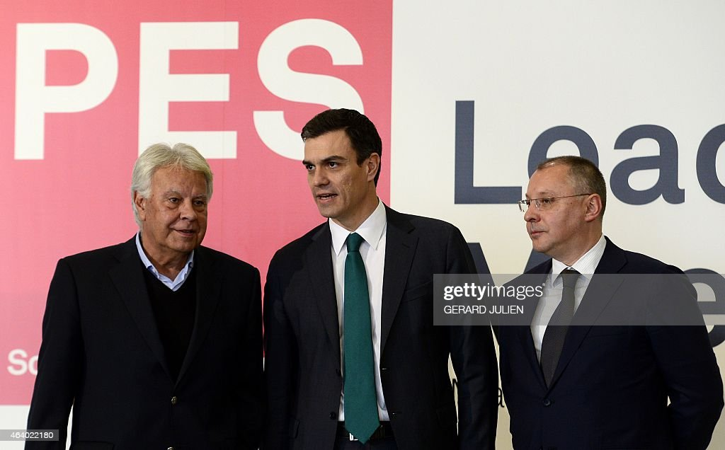 Secretary general of Spanish Socialist Party (PSOE) <a gi-track='captionPersonalityLinkClicked' href=/galleries/search?phrase=Pedro+S%C3%A1nchez+-+Spanish+Politician&family=editorial&specificpeople=13409003 ng-click='$event.stopPropagation()'>Pedro Sánchez</a> (C) poses with former Spanish Prime Minister <a gi-track='captionPersonalityLinkClicked' href=/galleries/search?phrase=Felipe+Gonzalez&family=editorial&specificpeople=6081940 ng-click='$event.stopPropagation()'>Felipe Gonzalez</a> (L) and the President of the Party of European Socialists (PES), Sergei Stanishev during the PES leaders meeting at IFEMA pavilion in Madrid, on February 21, 2015. The meeting, hosted by the Spanish Socialist Workers' Party (PSOE), gathers PES leaders, Prime Ministers and EU Commissioners who will discuss pivotal issues such as the fight against extremism and will make a joint declaration that will outline the PES roadmap for creating more and fairer jobs.