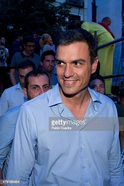 Secretary General of Spanish Socialist Party PSOE Pedro Sanchez attends the MADO Gay Pride 2015 Announcement at Chueca Square on July 1 2015 in...