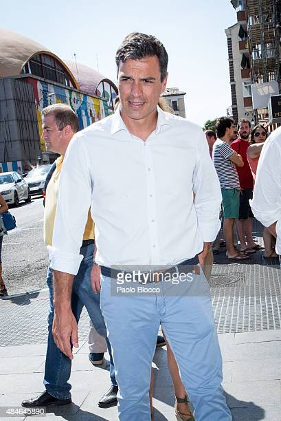 Secretary general of spanish socialist party PSOE Pedro Sanchez attends the funeral chapel for Lina Morgan at 'La Latina' theatre on August 20 2015...