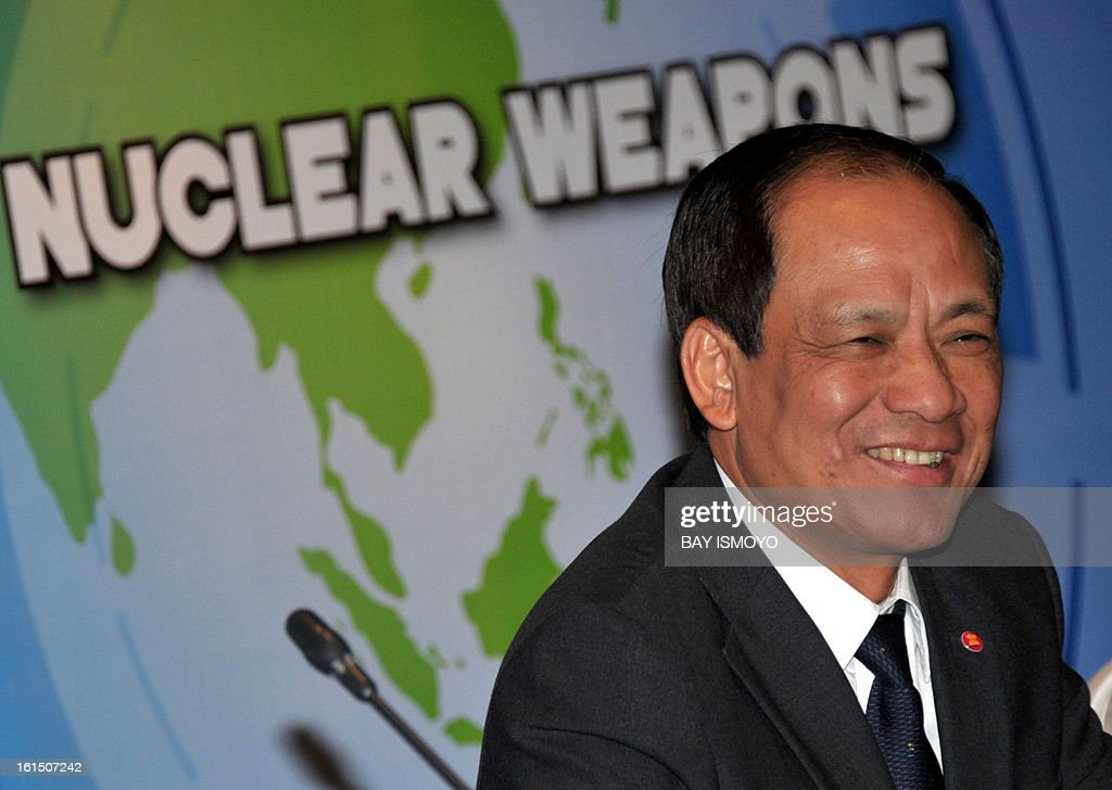 Secretary General of the Association of Southeast Asian Nations (ASEAN) Le Luong Minh from Vietnam smiles during a regional seminar on maintaining a Southeast Asia Region free of nuclear weapons in Jakarta on February 12, 2013. North Korea confirmed on February 12 it had 'successfully' carried out an underground nuclear test, drawing immediate condemnation from rival South Korea. PHOTO / Bay ISMOYO