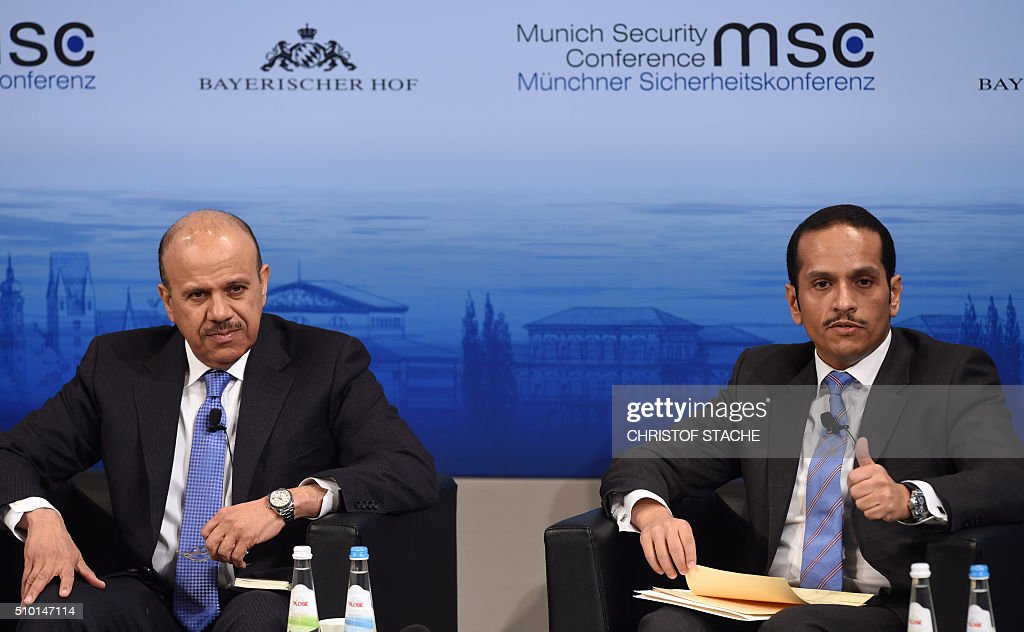 Secretary General of the council for the Arab States of the Gulf Abdullatif bin Rashid al Zayani (L) and the Minister of Foreign Affairs of Qatar Sheikh Mohammed bin Abdulrahman bin Jassim al-Thani (R) attend a panel discussion on the third day of the 52nd Munich Security Conference (MSC) in Munich, southern Germany, on February 14, 2016. / AFP / Christof STACHE