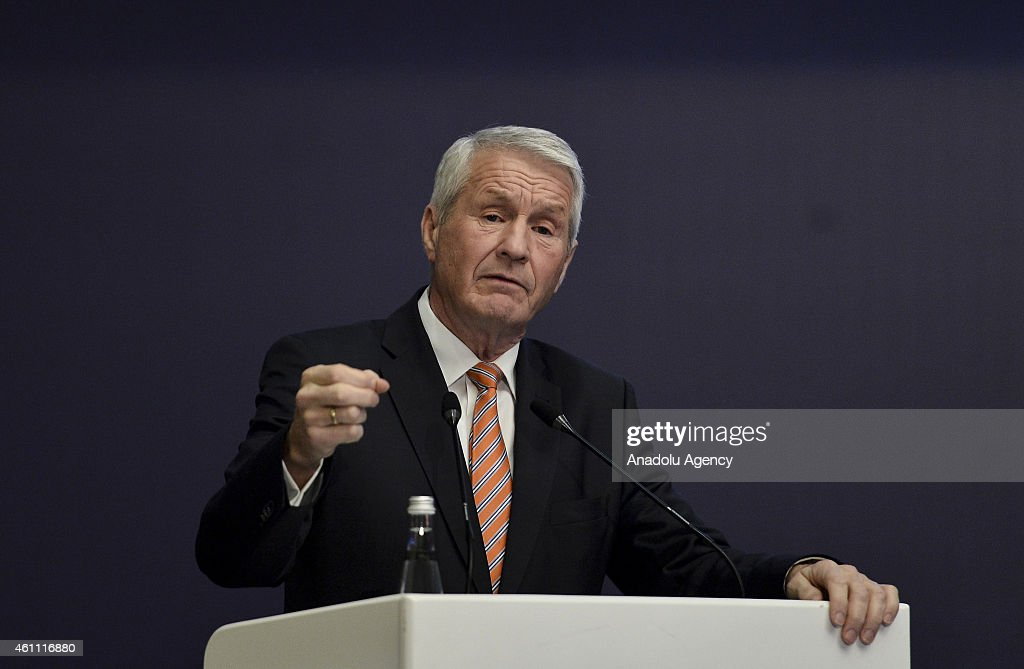 Secretary General of the Council of Europe, <a gi-track='captionPersonalityLinkClicked' href=/galleries/search?phrase=Thorbjorn+Jagland&family=editorial&specificpeople=862853 ng-click='$event.stopPropagation()'>Thorbjorn Jagland</a> delivers a speech during the Seventh Annual Ambassadors Conference hosted by Turkish Foreign Ministry in Ankara, Turkey on January 7, 2015.