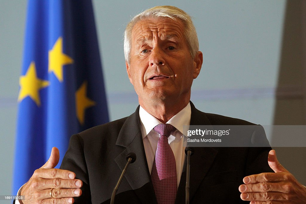 Secretary General of the Council of Europe <a gi-track='captionPersonalityLinkClicked' href=/galleries/search?phrase=Thorbjorn+Jagland&family=editorial&specificpeople=862853 ng-click='$event.stopPropagation()'>Thorbjorn Jagland</a> speaks during a press conference May 20, 2013 in Sochi, Russia. Jagland was in Russia to meet with Russian President Vladimir Putin and Russian Foreign Minister Sergey Lavrov to discuss reforming the Council of Europe .