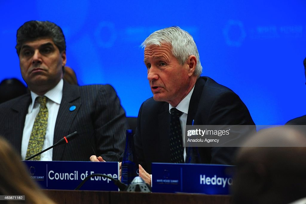 Secretary General of the Council of Europe <a gi-track='captionPersonalityLinkClicked' href=/galleries/search?phrase=Thorbjorn+Jagland&family=editorial&specificpeople=862853 ng-click='$event.stopPropagation()'>Thorbjorn Jagland</a> addresses the White House Summit to Counter Violent Extremism's second session on Cultivating Economic Opportunity for Communities Vulnerable to Radicalization and Recruitment to Violence: Effective Policies, Programs, and Challenges at the U.S. Department of State in Washington, D.C., on February 19, 2015.