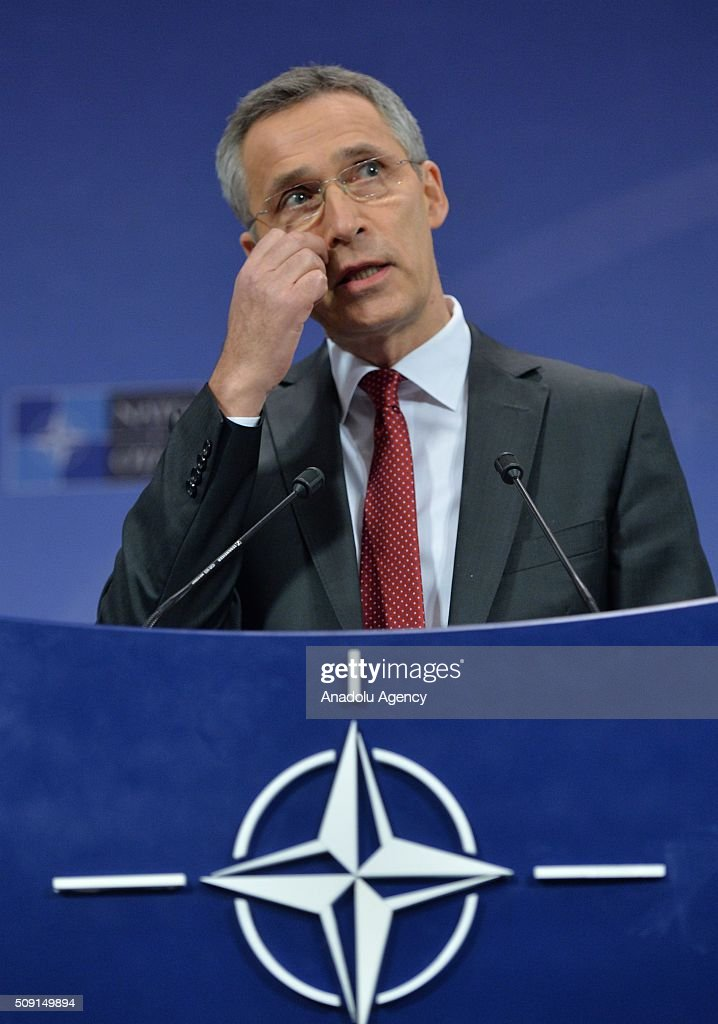 Secretary General of the North Atlantic Treaty Organization (NATO) Jens Stoltenberg gives a speech on the agenda of the NATO Defence Ministers Meeting which will be held tomorrow in Brussels, Belgium on February 09, 2016.