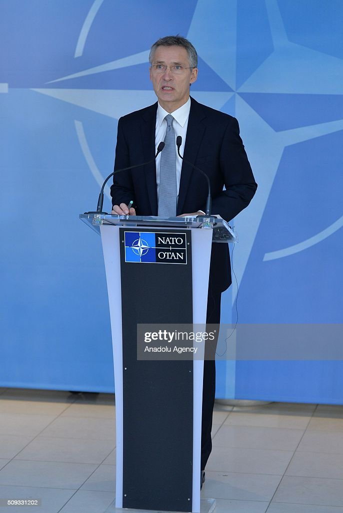 Secretary General of the North Atlantic Treaty Organization (NATO) Jens Stoltenberg gives a speech prior to NATO Defence Ministers Meeting which will be held today in Brussels, Belgium on February 10, 2016.