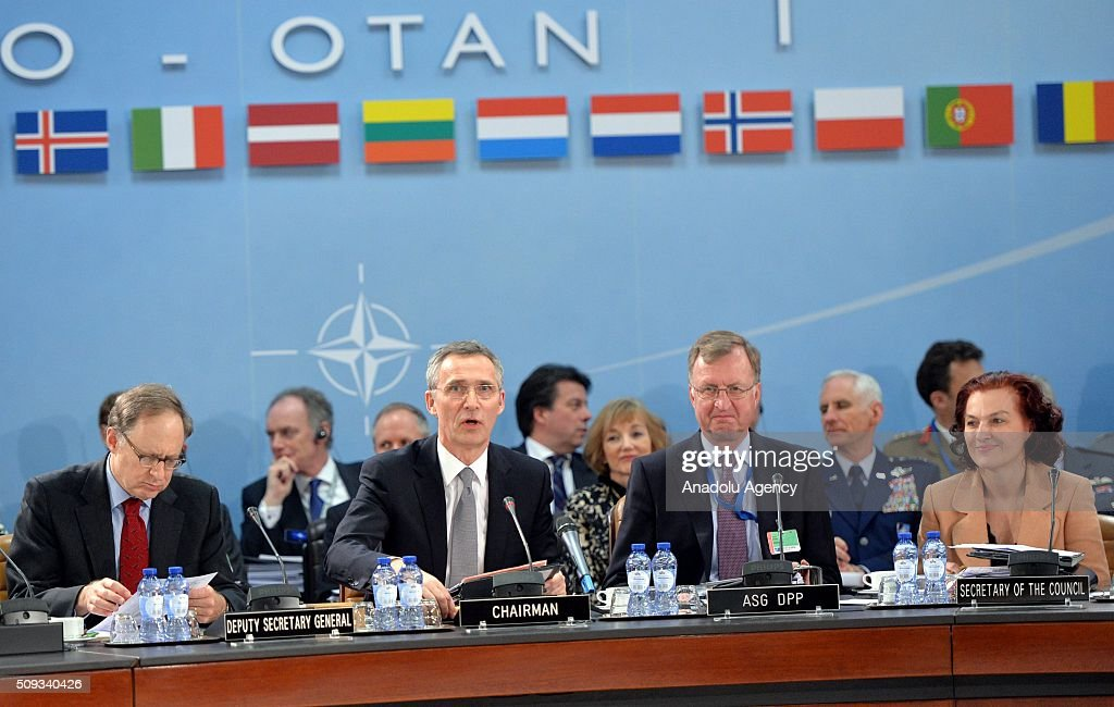 Secretary General of the North Atlantic Treaty Organization (NATO) Jens Stoltenberg (L-2) chair the NATO Defence Ministers meeting at the NATO headquarter in Brussels, Belgium on February 10, 2016.