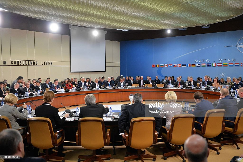 Secretary General of the North Atlantic Treaty Organization (NATO) Jens Stoltenberg chair the NATO Defence Ministers meeting at the NATO headquarter in Brussels, Belgium on February 10, 2016.