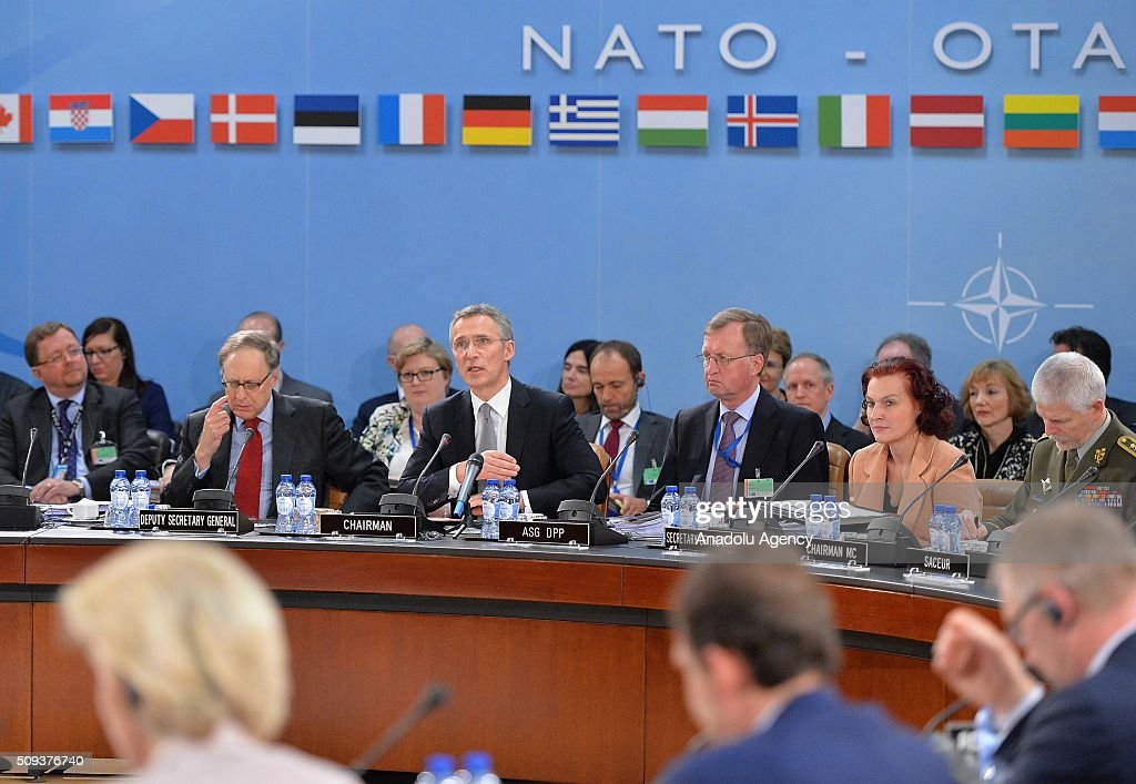 Secretary General of the North Atlantic Treaty Organization (NATO) Jens Stoltenberg (C) chair the NATO Defence Ministers meeting at the NATO headquarter in Brussels, Belgium on February 10, 2016.