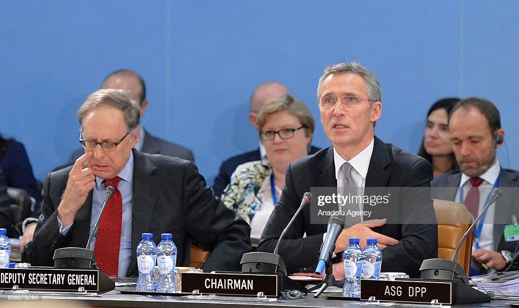 Secretary General of the North Atlantic Treaty Organization (NATO) Jens Stoltenberg (R) chair the NATO Defence Ministers meeting at the NATO headquarter in Brussels, Belgium on February 10, 2016.