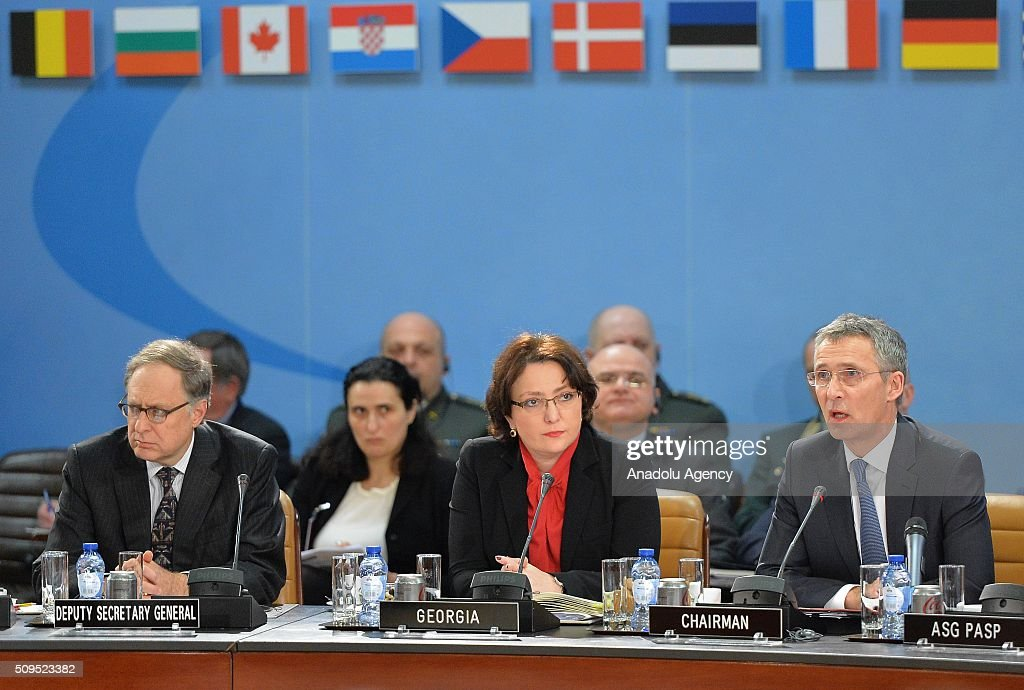 Secretary General of the North Atlantic Treaty Organization (NATO) Jens Stoltenberg (R) chairs the NATO Defence Ministers Meeting which is being held in Brussels, Belgium on February 11, 2016.