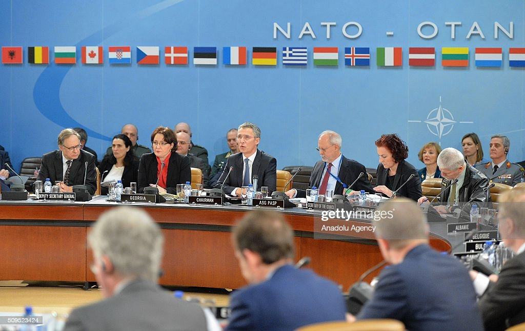 Secretary General of the North Atlantic Treaty Organization (NATO) Jens Stoltenberg (C) chairs the NATO Defence Ministers Meeting which is being held in Brussels, Belgium on February 11, 2016.