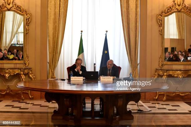 Secretary General of the Organisation for Economic Cooperation and Development Angel Gurria and Italian Economy Minister Pier Carlo Padoan present...