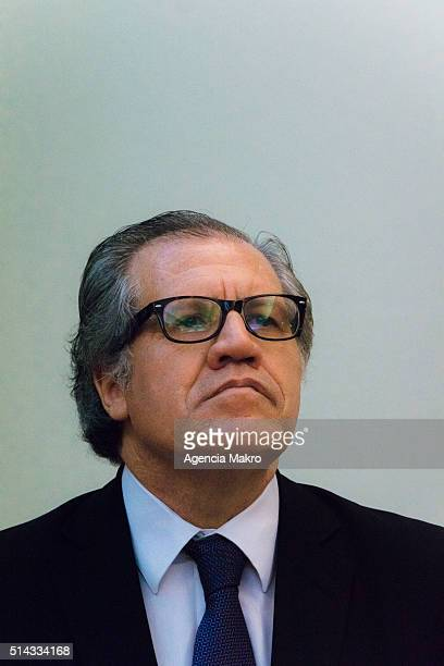 Secretary General of the Organization of American States Luis Almagro looks on during his visit to Chile to meet Foreign of Chile Minister Heraldo...