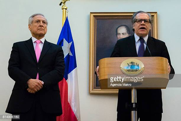 Secretary General of the Organization of American States Luis Almagro gives a speech during his visit to Chile to meet Foreign of Chile Minister...