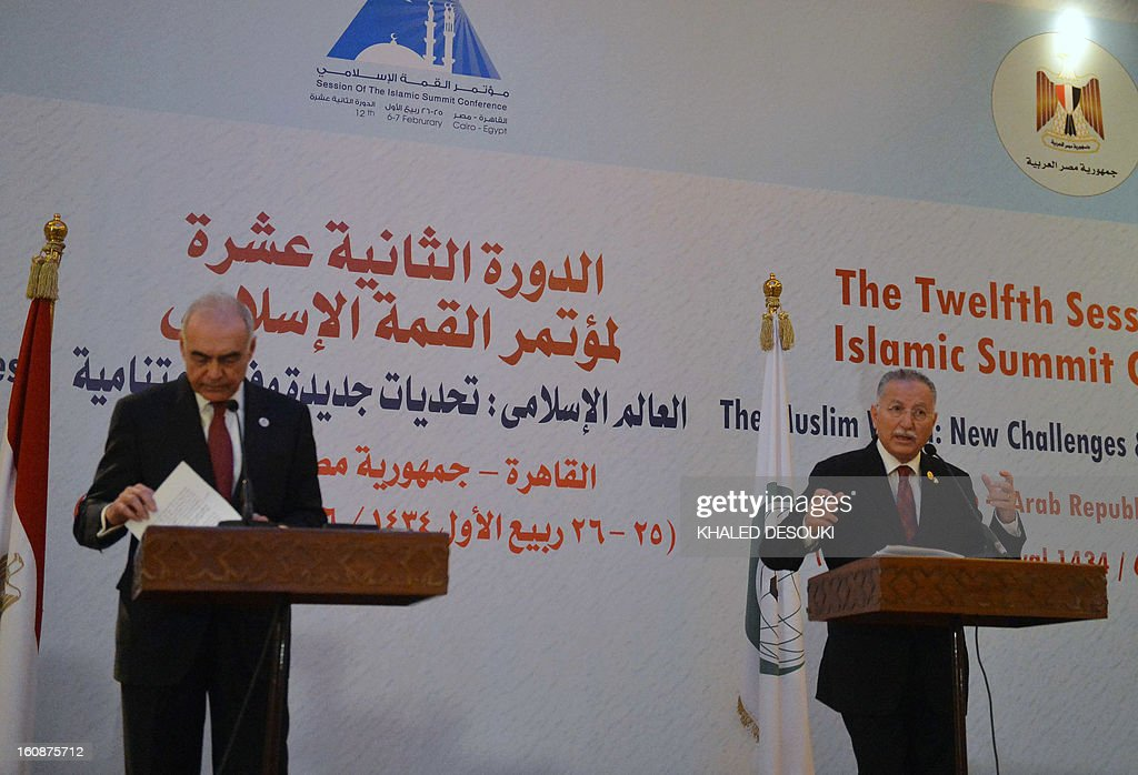 Secretary General of the Organization of Islamic cooperation (OIC), Ekmeleddin Ihsanoglu (R) talks near Egyptian Foreign Affairs Minister Mohamed Kamel Amr during the final press conference at the end of the 12th summit of OIC. The summit was dominated by the Syrian conflict which has divided the Muslim world along sectarian lines.