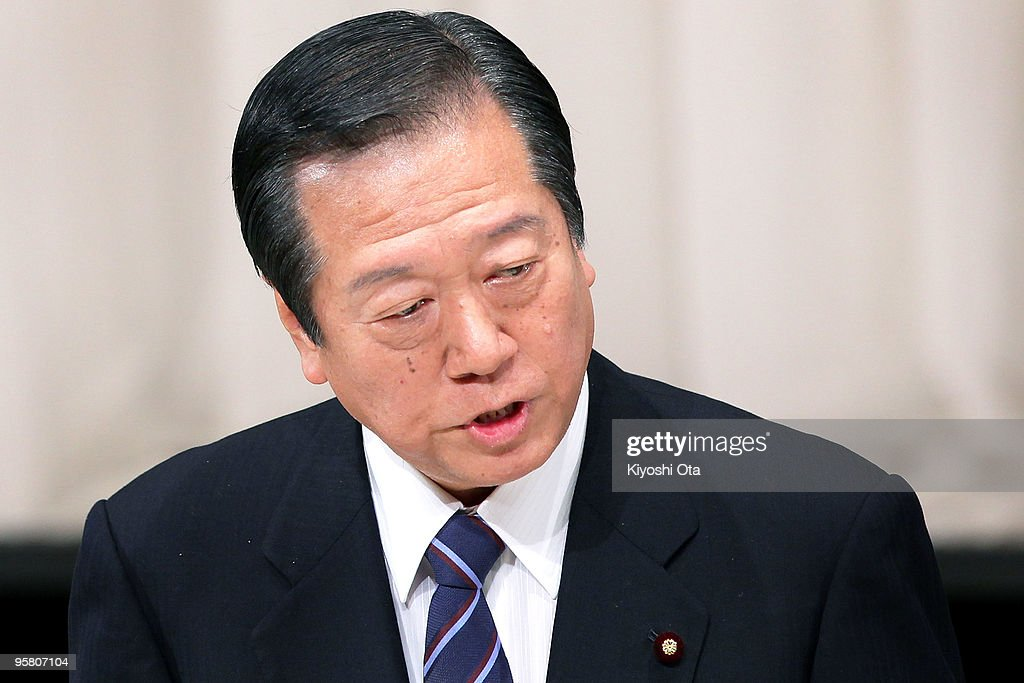 Secretary General of the ruling Democratic Party of Japan (DPJ) <a gi-track='captionPersonalityLinkClicked' href=/galleries/search?phrase=Ichiro+Ozawa&family=editorial&specificpeople=680192 ng-click='$event.stopPropagation()'>Ichiro Ozawa</a> speaks during the party's annual convention at Hibiya Kokaido on January 16, 2010 in Tokyo, Japan. Ozawa's former secretary Tomohiro Ishikawa was arrested on January 15 for political funds scandals involving Ozawa's fund management body.
