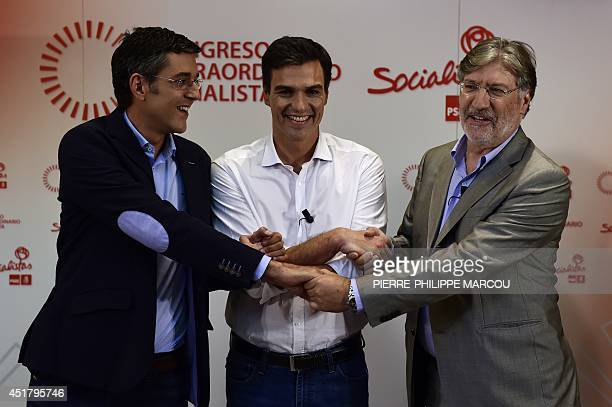 Secretary General of the Socialist Parliamentary Group Eduardo Madina Madrid's Deputy Pedro Sanchez and Jose Antonio Perez Tapias candidates to...