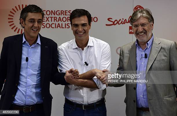BAZINET Secretary General of the Socialist Parliamentary Group Eduardo Madina Madrid's Deputy Pedro Sanchez and Jose Antonio Perez Tapias candidates...