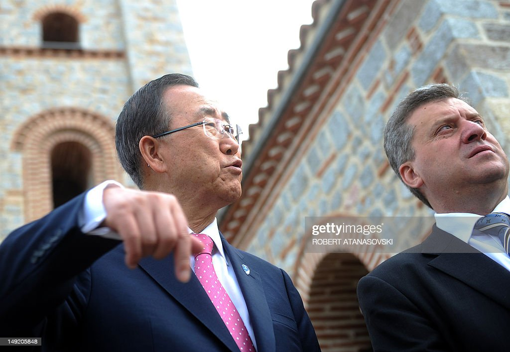 Secretary General of the UN Ban Ki Moon gestures next to Macedonian President George Ivanov ( R) during their visit of the orthodox church St. Kliment in Ohrid in Ohrid on 25 July,2012. General Secretary of UN Ban Ki Moon arrived for an official visit to Macedonia.