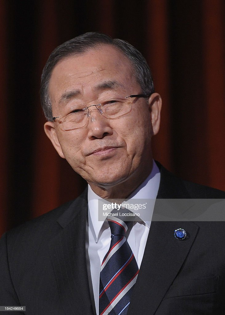 Secretary General of the United Nations <a gi-track='captionPersonalityLinkClicked' href=/galleries/search?phrase=Ban+Ki-moon&family=editorial&specificpeople=206144 ng-click='$event.stopPropagation()'>Ban Ki-moon</a> attends the 2012 Global Leadership Awards Dinner at Cipriani 42nd Street on October 16, 2012 in New York City.