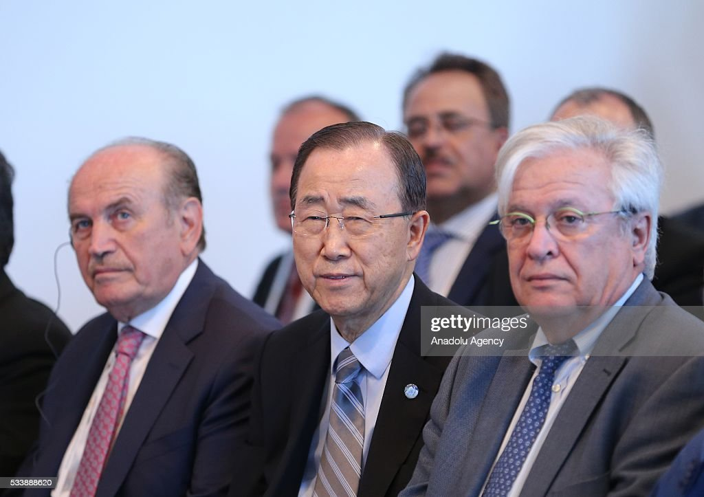 Secretary General of the United Nations Ban Ki-moon (C), Istanbul Mayor Kadir Topbas (L), United Nations Under Secretary General UN-Habitat Executive Director of Joan Clos (R) attend a side event 'Mayors Focus Session: Cities Response to Migration' within the World Humanitarian Summit in Istanbul, Turkey on May 24, 2016.