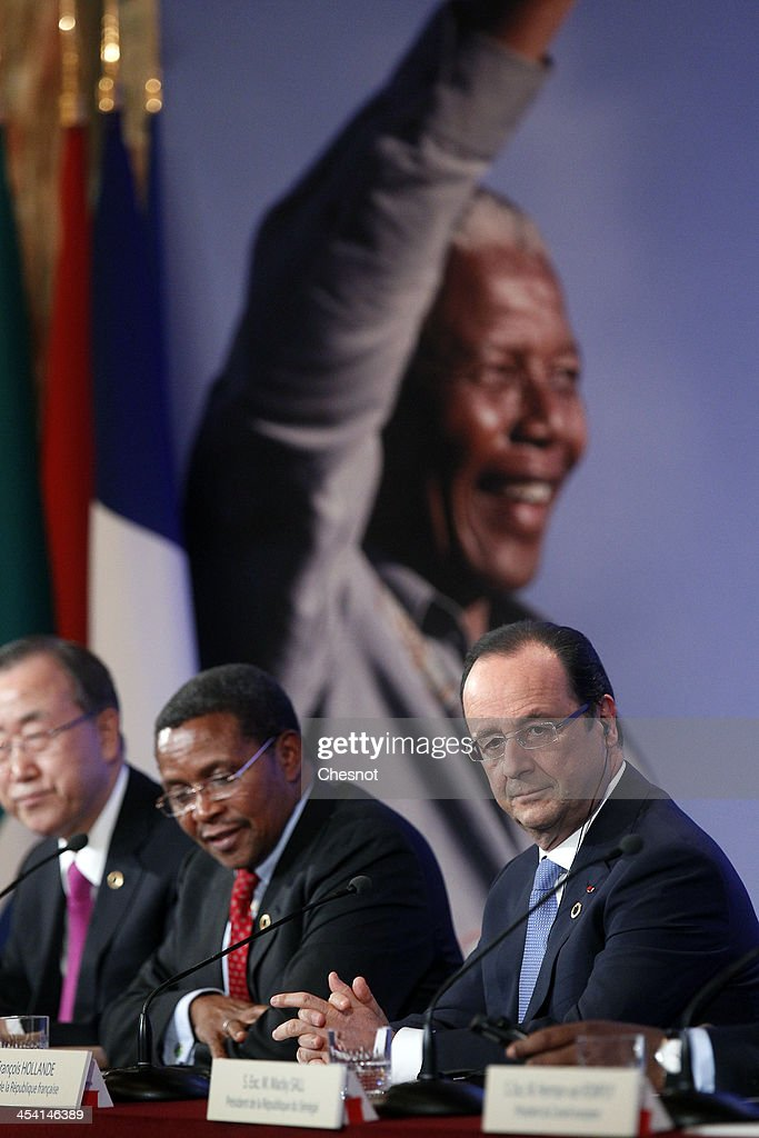 Secretary General of the United Nations Ban Ki-moon, President of Tanzania Jakaya Mrisho Kikwete and President of France Francois Hollande hold a press conference as part of the Elysee Summit for Peace and Security in Africa on December 7, 2013, in Paris, France. France committed itself to helping establish and finance a pan-African military force capable of intervening in crises like the current conflict in the Central African Republic.