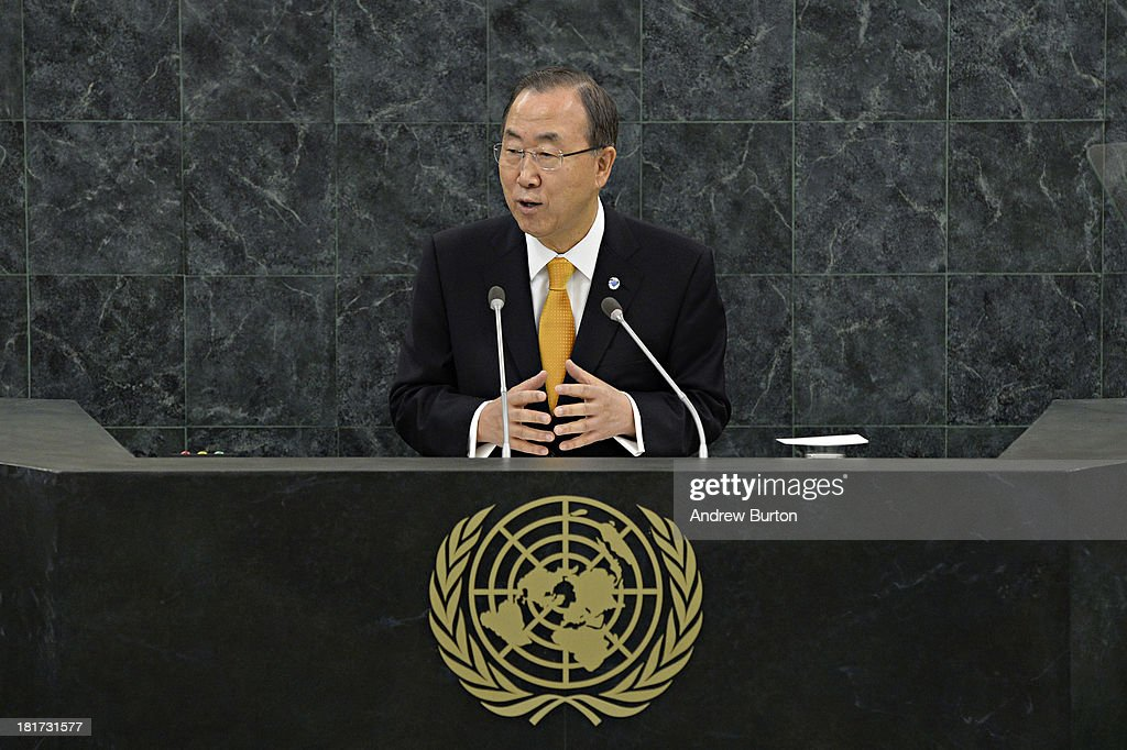 Secretary General of the United Nations Ban Ki-moon speaks at the 68th United Nations General Assembly on September 24, 2013 in New York City. Over 120 prime ministers, presidents and monarchs are gathering this week at the U.N. for the annual meeting.