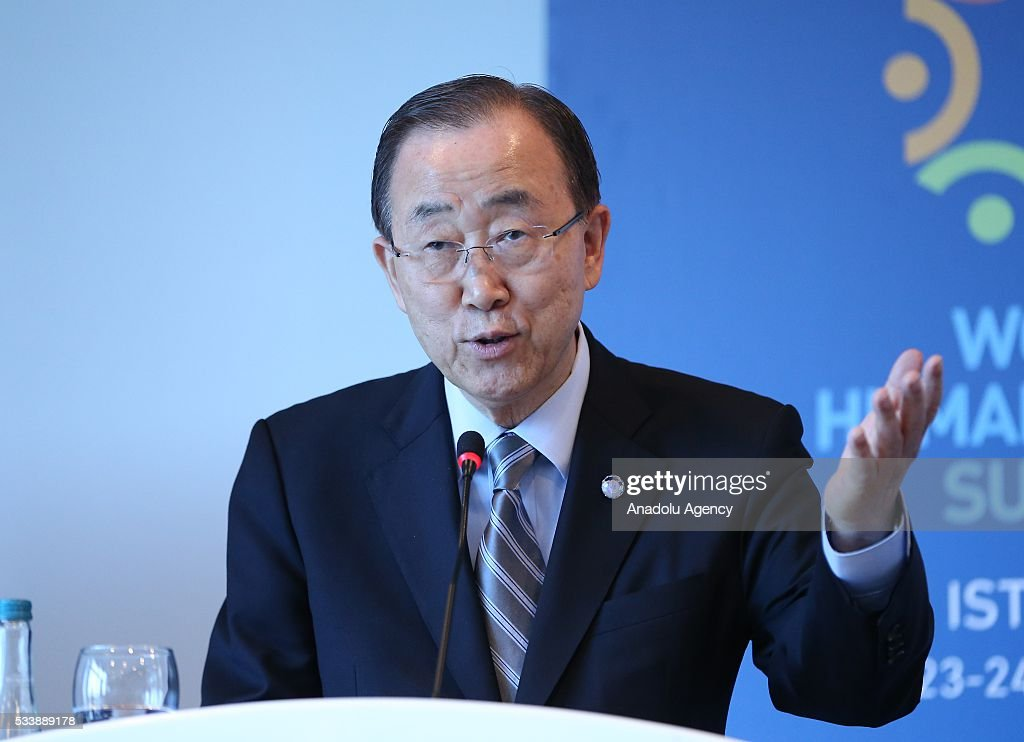 Secretary General of the United Nations Ban Ki-moon speaks during a side event 'Mayors Focus Session: Cities Response to Migration' within the World Humanitarian Summit in Istanbul, Turkey on May 24, 2016.