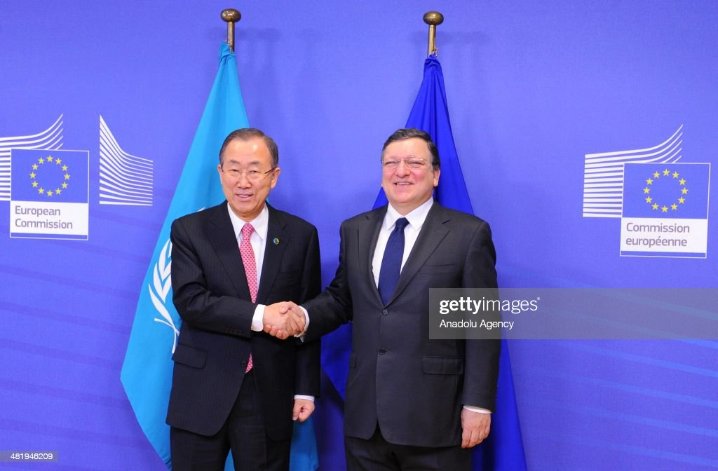 Secretary General of United Nations Ban-Ki Moon (L) meets with President of European Commission Jose Manuel Barroso (R) in Brussels,Belgium on April 2, 2014.