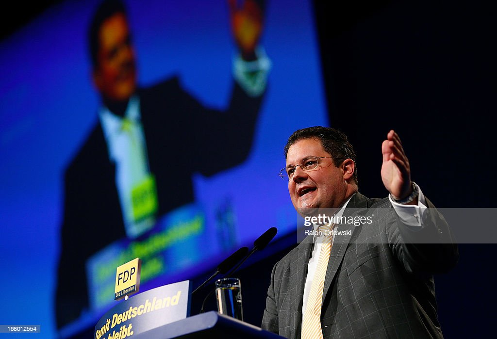 Secretary general Patrick Doering of the German Free Democrats (FDP) political party, speaks at the FDP federal congress (Bundesparteitag) on May 4, 2013 in Nuremburg, Germany. The FDP is the junior partner in the current German government coalition, though its popularity has faltered in recent years and the party is in danger of not receiving the required minimum of 5% of votes to retain seats in the Bundestag in federal elections scheduled for September.