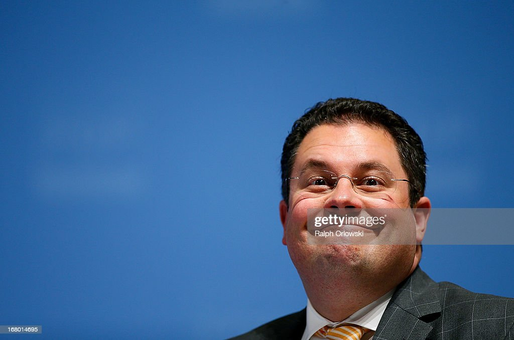 Secretary general Patrick Doering of the German Free Democrats (FDP) political party, grimaces at the FDP federal congress (Bundesparteitag) on May 4, 2013 in Nuremburg, Germany. The FDP is the junior partner in the current German government coalition, though its popularity has faltered in recent years and the party is in danger of not receiving the required minimum of 5% of votes to retain seats in the Bundestag in federal elections scheduled for September.