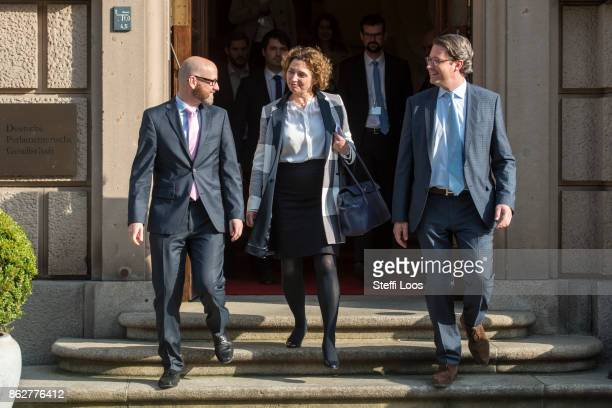 CDU secretary general Peter Tauber FDP secretary general Nicola Beer and CSU general secretary Andreas Scheuer leave the building on the first...