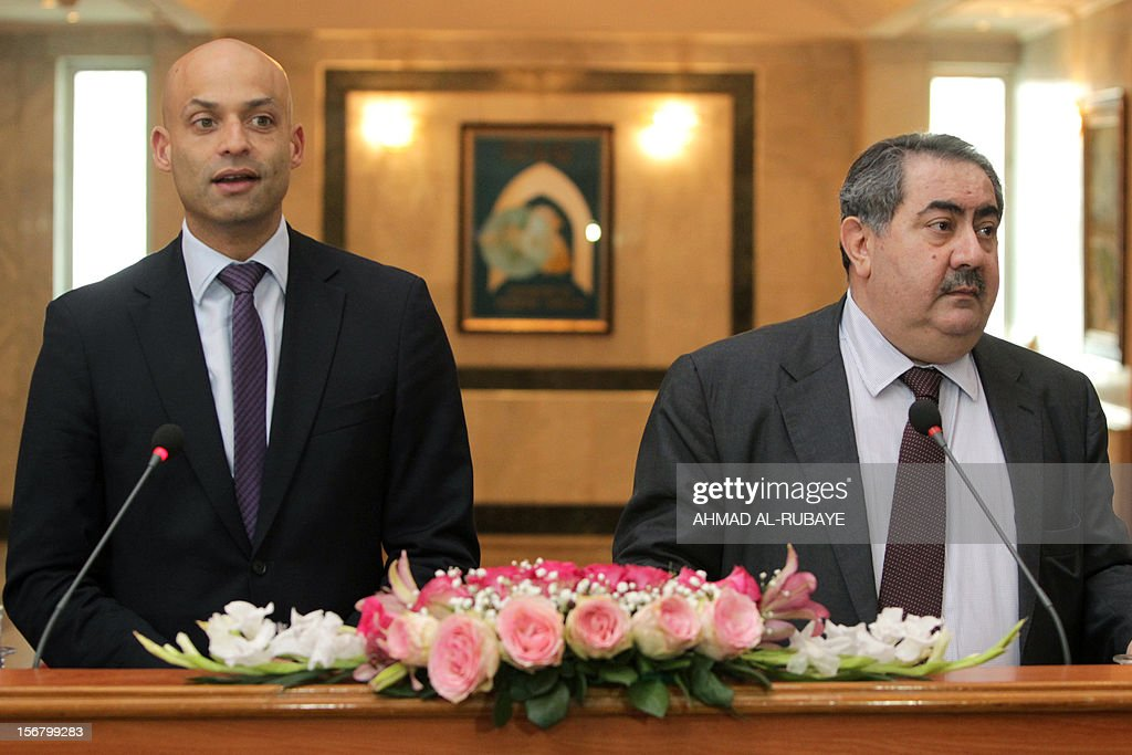 NATO secretary general's special representative for the Caucasus and Central Asia James Appathurai (L), and Iraqi Foreign Minister Hoshyar Zebari, attend a press conference in Baghdad on November 21, 2012.
