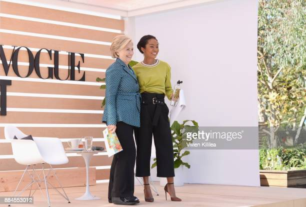Secretary Hillary Clinton and Yara Shahidi speak onstage during The Teen Vogue Summit LA Keynote Conversation with Hillary Rodham Clinton and actress...