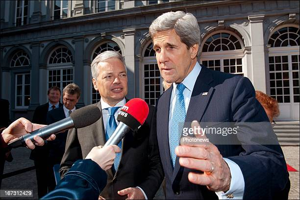 Secretary John Kerry pictured during his meeting with Belgian Foreign Affairs Minister Didier Reynders on April 24 2013 in Brussels Belgium Kerry...