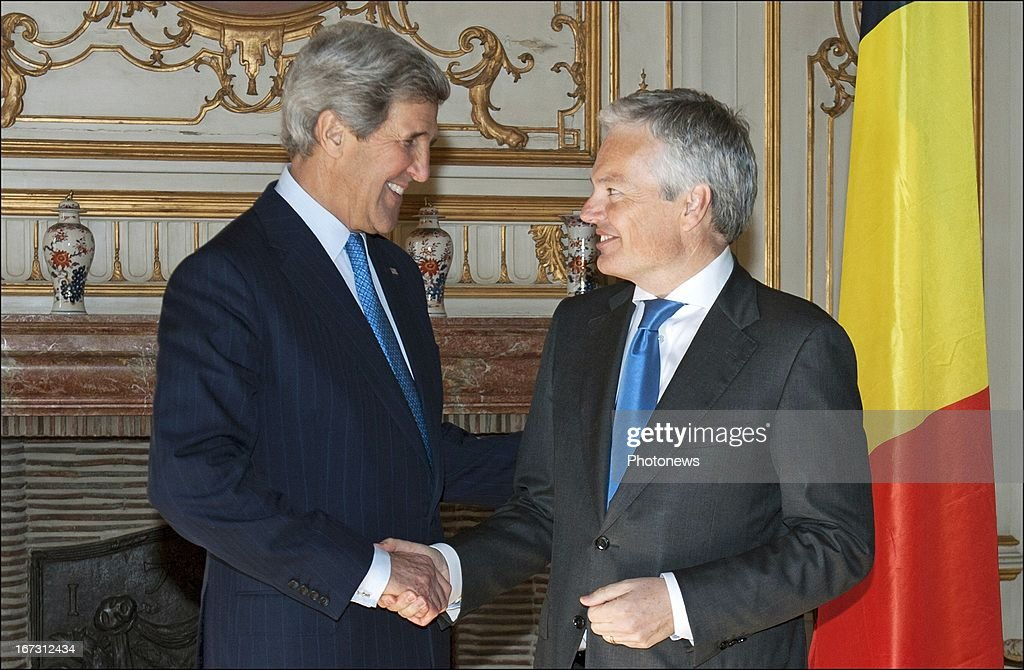 US Secretary <a gi-track='captionPersonalityLinkClicked' href=/galleries/search?phrase=John+Kerry&family=editorial&specificpeople=154885 ng-click='$event.stopPropagation()'>John Kerry</a> pictured during his meeting with Belgian Foreign Affairs Minister <a gi-track='captionPersonalityLinkClicked' href=/galleries/search?phrase=Didier+Reynders&family=editorial&specificpeople=548982 ng-click='$event.stopPropagation()'>Didier Reynders</a> on April 24, 2013 in Brussels, Belgium. Kerry will meet with EU Politicians and NATO Foreign Ministers during his three day visit.