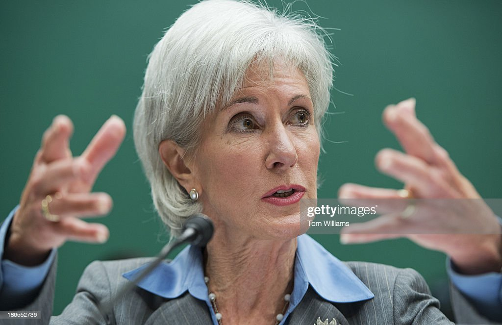 HHS Secretary Kathleen Sebelius testifies during a House Energy and Commerce Committee hearing in Rayburn Building on the failures of Affordable Care Act's enrollment website.