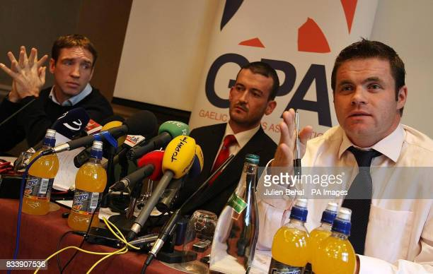 GPA secretary Kieran McGeeney GPA Chairman Donal Og Cusack and Chief Executive of the GPA Dessie Farrell pictured at a press conference in the Westin...