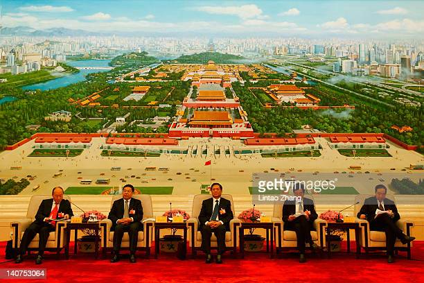 CPC secretary Liu Qi attends a meeting in the Great Hall of the People on March 6 2012 in Beijing China Known as 'liang hui' or 'two organizations'...