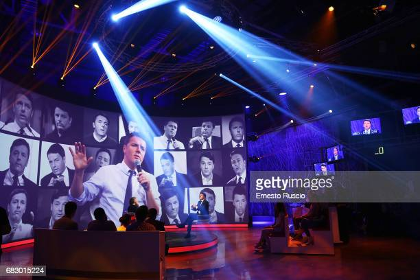 Secretary Matteo Renzi attends the 'L'Arena' TV show at Cinecitta Studios on May 14 2017 in Rome Italy