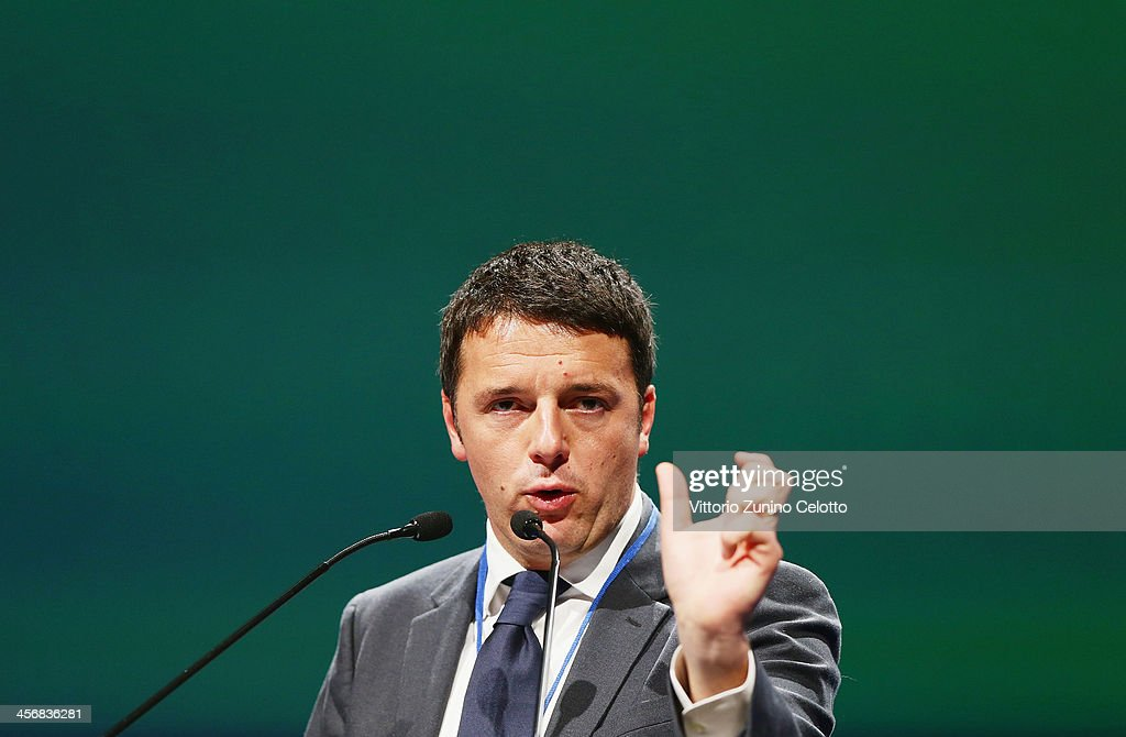 PD Secretary <a gi-track='captionPersonalityLinkClicked' href=/galleries/search?phrase=Matteo+Renzi&family=editorial&specificpeople=6689301 ng-click='$event.stopPropagation()'>Matteo Renzi</a> speaks during the Italian Social Democratic Party PD National Assembly on December 15, 2013 in Milan, Italy. <a gi-track='captionPersonalityLinkClicked' href=/galleries/search?phrase=Matteo+Renzi&family=editorial&specificpeople=6689301 ng-click='$event.stopPropagation()'>Matteo Renzi</a> won the PD primary elections with 68% of votes, becoming the leader of the Party.
