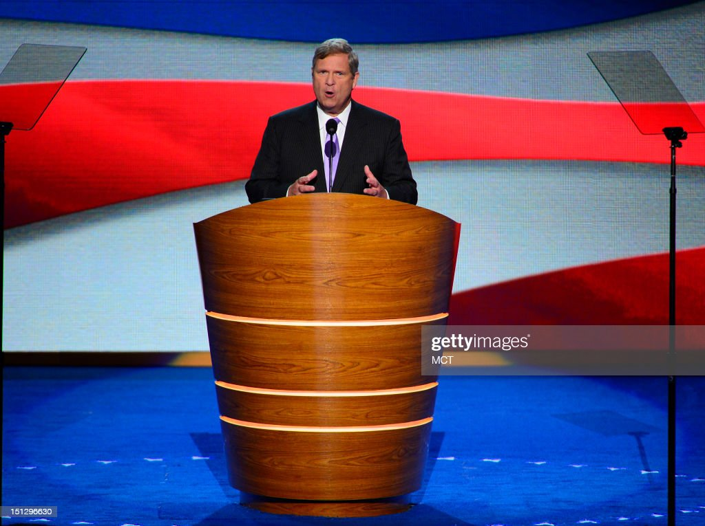Secretary of Agriculture Tom Vilsack speaks to the delegates on the second night of the 2012 Democratic National Convention at Time Warner Cable Arena, Wednesday, September 5, 2012 in Charlotte, North Carolina.