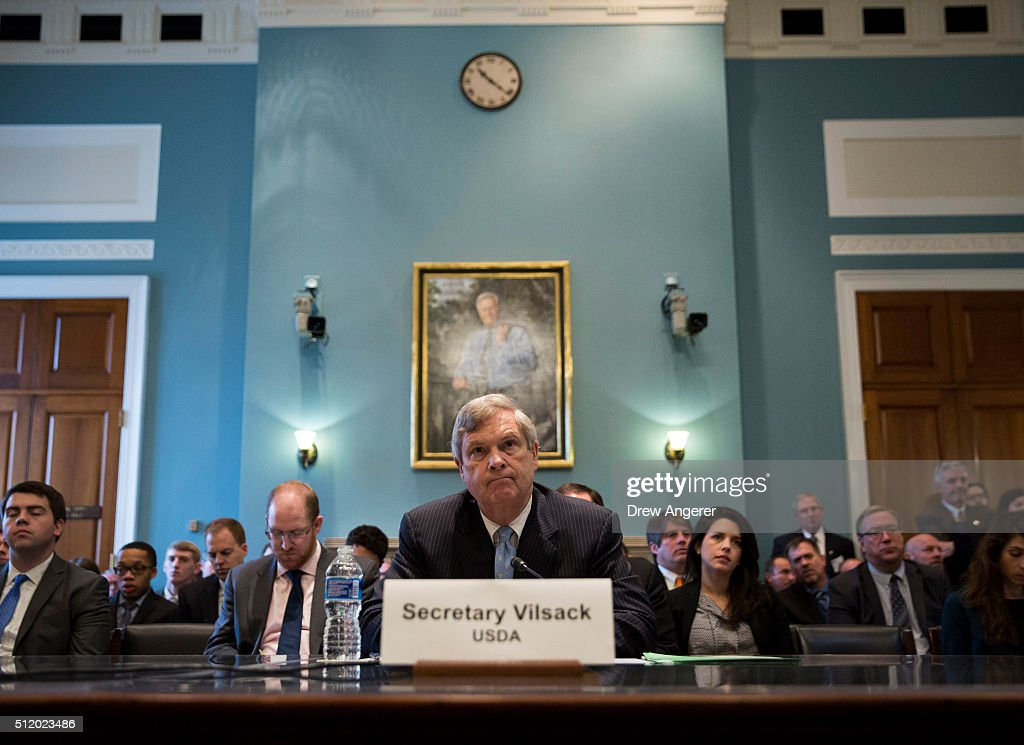 U.S. Secretary of Agriculture <a gi-track='captionPersonalityLinkClicked' href=/galleries/search?phrase=Tom+Vilsack&family=editorial&specificpeople=681029 ng-click='$event.stopPropagation()'>Tom Vilsack</a> testifies during a House Committee on Agriculture hearing regarding the state of the rural economy, on Capitol Hill, February 24, 2016 in Washington, DC. On Tuesday, Vilsack stated he was confident that Congress will pass the Trans-Pacific Partnership, a multi-nation trade agreement between the United States and 11 other countries.