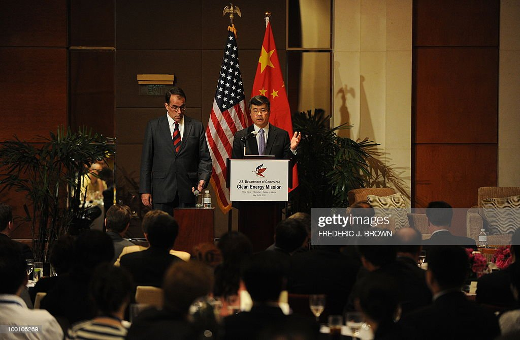 US Secretary of Commerce Gary Locke gestures while speaking at a business luncheon in Beijing on May 21, 2010. Locke is on the final stop of a three-city visit to China which earlier included Hong Kong and Shanghai, leading the first cabinet-level US trade mission since the US announced an ambitious target in March to double US shipments within five years to promote job growth. AFP PHOTO/Frederic J. BROWN