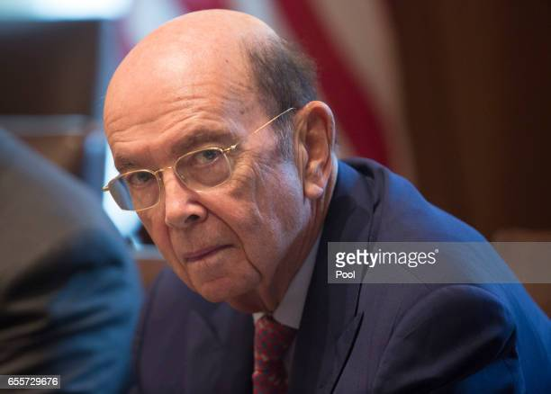 S Secretary of Commerce Wilbur Ross listens during a meeting with Iraqi Prime Minister Haider alAbadi at the White House on March 20 2017 in...